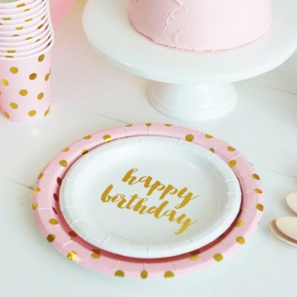 12 Platos de papel de postre Happy birthay