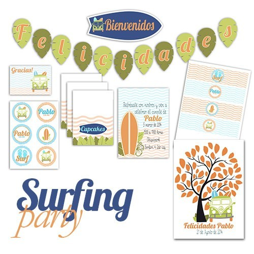Imprimibles Fiesta Surf - Allegra Sweet Party