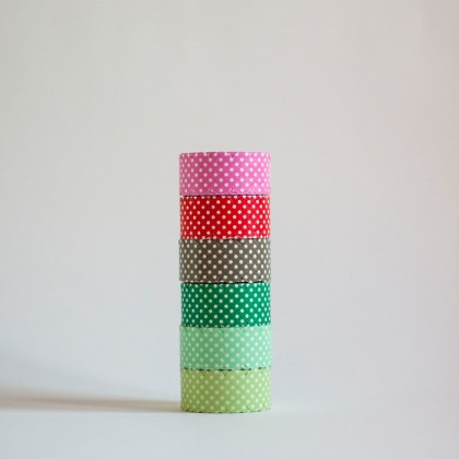 Washi tape estampado de topos- Set de 6